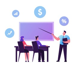 Male and Female Students Characters Sitting at Desk Rear View Listening Teacher who Explain Lesson at Blackboard with Financial Icons, Educational Loan, Scholarship. Cartoon People Vector Illustration