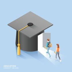Male and female students walk to the door of the Square academic cap. Vector isometric illustration.