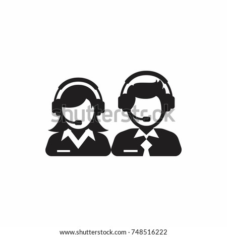 Male and female support service / customer care / customer service / administrator silhouette icon.