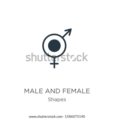 Male and female symbol icon vector. Trendy flat male and female symbol icon from shapes collection isolated on white background. Vector illustration can be used for web and mobile graphic design,
