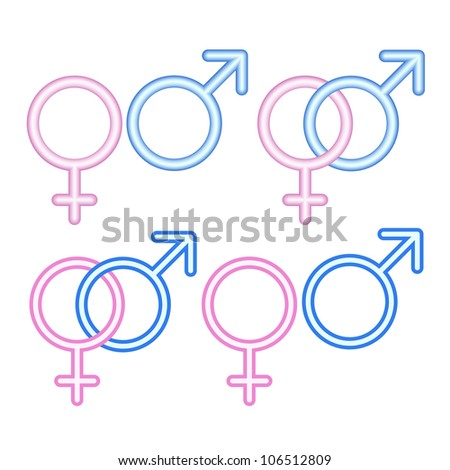 Male and  female symbols on white. Vector illustrations.