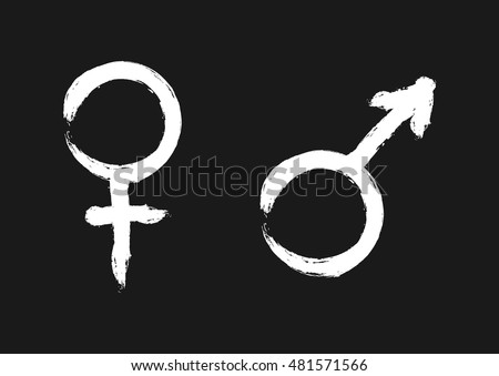 Male and female symbols. Sign of sexual identity. The white silhouette on a black background.
