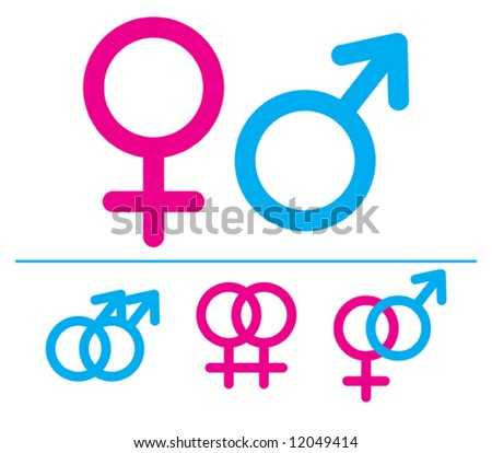 Male and  female symbols. Vector illustrations. Combinations.