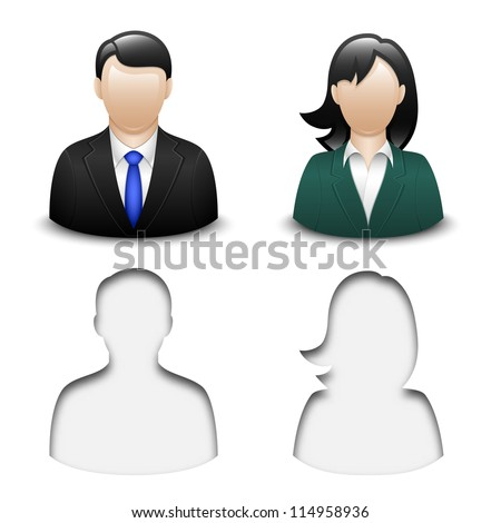 Male and female user icons. Vector