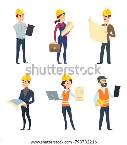 Male and female workers of engineers and other technician professions. Engineer male and female, engineering profession. Vector illustration