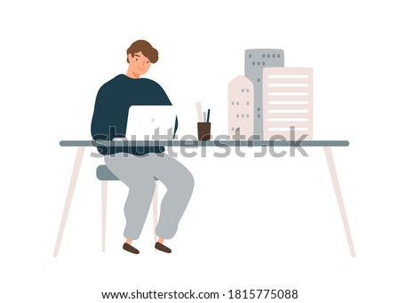 Male architect designer work on laptop with mini building models on table vector flat illustration. Man develop architectural design use digital technology isolated. Engineer create house project