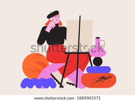 Male artist working with oil paint drawing still life with a brush on a white canvas. Creative idea for drawing or art classes, lessons or online courses. Vector graphic for ui or website project. Foto stock ©
