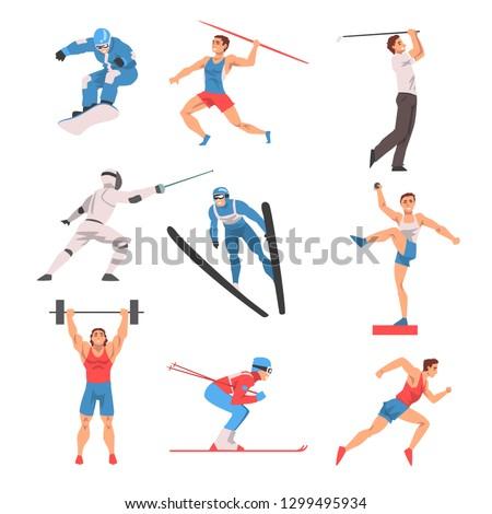 Male Athlete Character in Sports Uniform set, Golf Player, Snowboarder, Javelin Thrower, Fencer, Shot Putter, Weightlifter, Skier Vector Illustration