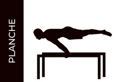 Male athlete silhouette doing calisthenics planche exercise isolated on white background. Functional training with own weight. Street workout training. Vector illustration for web and printing.