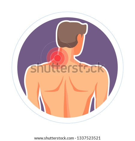 Male back neck injury pain or ache isolated icon medicine and healthcare vector muscle stretching disk disposition posture backache spinal cord damage skeletal disease arthritis pain or ache treatment