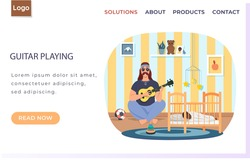 Male bard playing guitar vector illustration. Daddy with ukulele sings songs to child at night. Father puts baby to bed to sleep. Musician playing strings on instrument. Family rest together