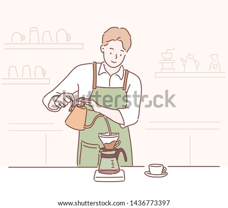 Male barista making coffee, manual brew drip coffee and accessories. Hand drawn style vector design illustrations.