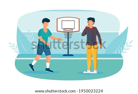 Male basketball player and referee with whistle on the court. Concept of fair referee work while playing basketball. Man is whistle to stop the game because of foul. Flat cartoon vector illustration
