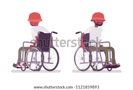 Male black young wheelchair user moving manual chair. Unable to walk as a result of illness, injury, or disability. Medical concept. Vector flat style cartoon illustration, isolated, white background