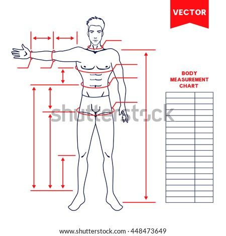 Male body measurement chart  Scheme for… Stock Photo 604681058