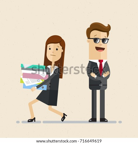 Male boss and female subordinate. The woman bringing a pile of documents and businessman  in black glasses stand nearby. Vector, illustration, flat