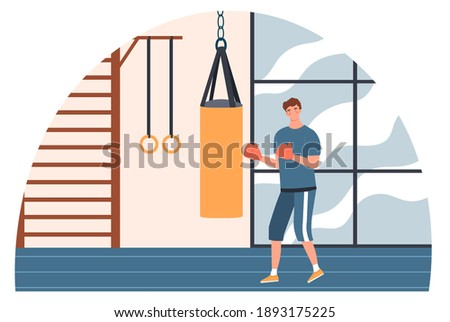 Male boxer punching boxing bag in gym. Man is making direct hit in red boxing gloves. Concept of training workout and healthy lifestyle. Flat cartoon vector illustration Stock photo ©