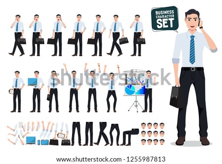Male business person vector character creation set with business man talking on mobile phone and holding briefcase for presentation. Vector illustration.