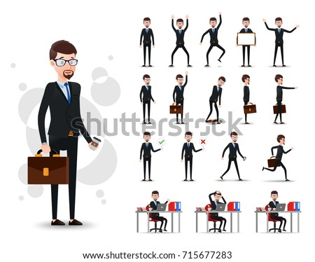 Male Businessman 2D Character Ready to Use Set with Beard, Wearing Suit and Tie Standing and Sitting Position with Different Facial Expressions in Isolated White Background. Vector Illustration.