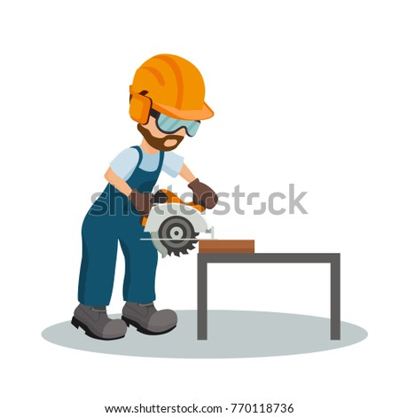 Male carpenter cutting a wooden plank with circular saw with industrial safety equipment. Industrial saw design. Vector illustration