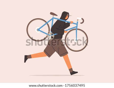 Male carrying broken bike to repair service vector flat illustration. Criminal guy in cap running with raising up bicycle during robbery isolated on white background. Man in hoodie stealing vehicle Сток-фото ©