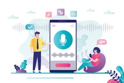 Male character asks for help from the voice assistant. Cute girl records voice messages using mobile phone. Concept of new technology, app interface and smart assistant.Trendy flat vector illustration