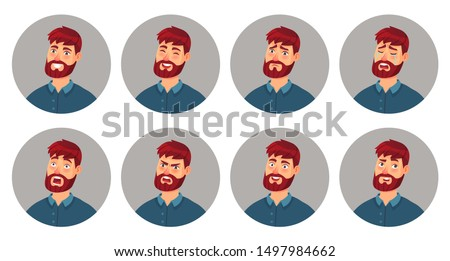 Male character facial emotions. Happy smiling man face, angry expression and different emotion faces. Men expressions avatar or emoticon portrait. Cartoon vector illustration isolated icons set