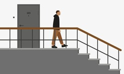 Male character going the staircase leaving the door apartment