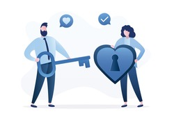 Male character holding key from girl heart. Cute woman holds big heart with keyhole. Couple in love isolated on white background. Man confessed to beloved in feelings. Trendy flat vector illustration