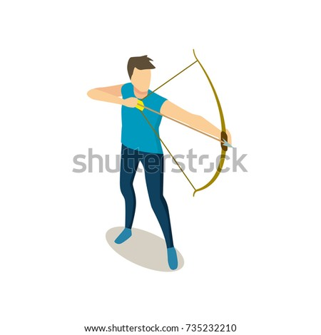 Male Character Holds Big Bow Aims Target With Arrow Isolated Isometric 3d Vector Illustration On White