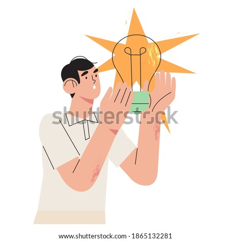 Male character holds light bulb in his hands. Concept of new idea, thinking, innovation, solution for web or ui design. Happy man come up with brilliant creative idea for project, business, start up.