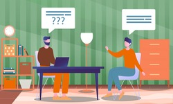 Male character is interviewing a famous person in studio fro a tv show. Concept of television or internet broadcast with journalist talking to a celebrity. Flat cartoon vector illustration
