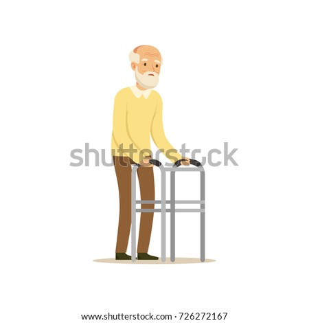 Male Character Old Frail Weak Using Walking Support Colourful Toon Cute
