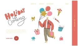 Male Character Prepare Present for Holiday or Birthday Celebration Landing Page Template. Happy Man Carry Balloons and Gifts in Paper Bags or Boxes Wrapped with Festive Bow. Linear Vector Illustration