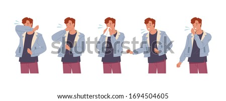 Male character sneezing and coughing right and wrong. Man coughing in arm, elbow, tissue. Prevention against virus and infection. Vector illustration in a flat style
