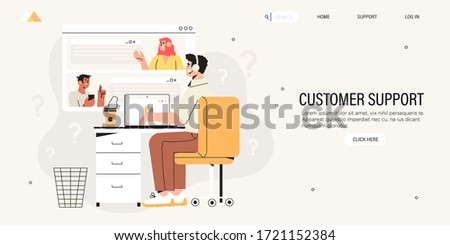 Male character specialist from customer service or technical support working on laptop in office. Concept of online support or assistance, call center or consultutaion banner, landing page design.