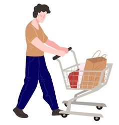 Male character using trolley to transport bought goods in store or market. Personage shopping in shop buying products and presents. Customer or purchaser with cart in marketplace. Vector in flat style