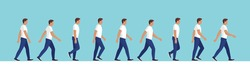 Male character walk cycle sequence, side view