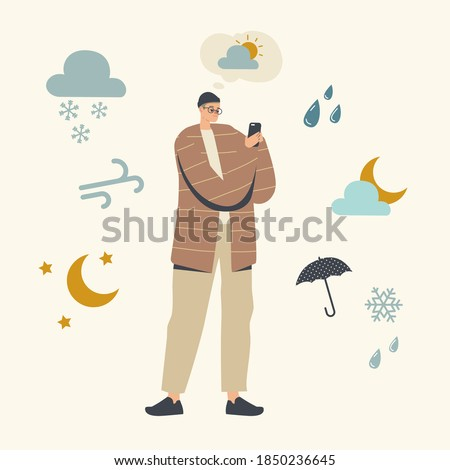 Male Character Watching Weather Forecast in Mobile App Concept. Man Using Smartphone Application for Looking Meteorological Report Rain, Sun or Snow Precipitation. Linear Vector Illustration Foto stock ©