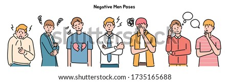 Male characters expressing negative emotions. hand drawn style vector design illustrations.