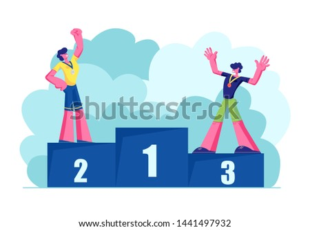 Male Characters Sportsmen Stand on Win Pedestal. Happy Athletes on Winners Podium with Silver and Bronze Medals. Victory, Sport Lifestyle, Success Achievement, Trophy. Cartoon Flat Vector Illustration