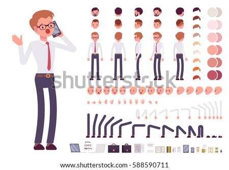 Male clerk character creation set. Full length, different views, emotions, gestures, isolated against white background. Build your own design. Cartoon flat-style infographic illustration