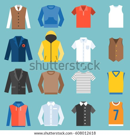Male clothes fashion for top, undershirt, overcoat and jacket , flat design