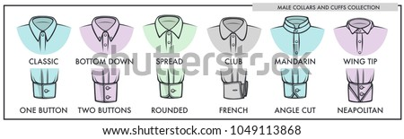 Male collars and cuffs of classic shirts collection