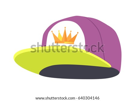 Male colourful rap cap. Template simple example. Isolated illustration on white. Stylish violet hat with greenish peak. Icon of golden crown on white cloth. Cartoon style. Flat design. Vector