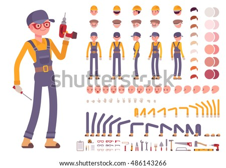 Male construction worker creation set. Full length, different views, emotions, gestures, isolated against white background. Build your own design. Cartoon flat-style infographic illustration