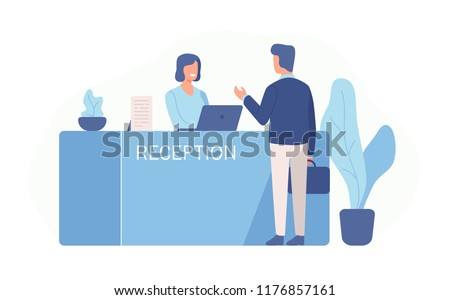 Male customer standing at reception desk and talking to female receptionist. Scene of visit to service center isolated on white background. Colorful vector illustration in flat cartoon style. Foto stock ©