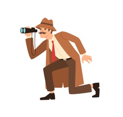 Male detective sneaking looking through binoculars during spy vector flat illustration. Private agent in coat and hat holding surveillance equipment isolated. Observation and investigation