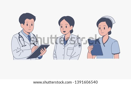 Male doctor, female doctor, female nurse character. hand drawn style vector design illustrations.