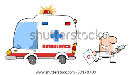 Male Doctor Running With A Syringe And Bag From Ambulance